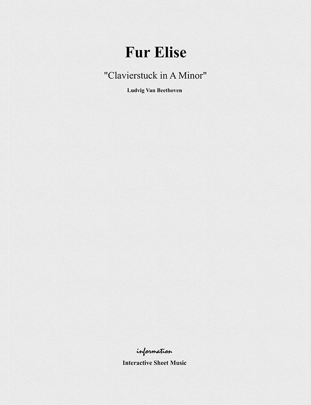 Fur Elise Sheet Music (Songbook Cover)