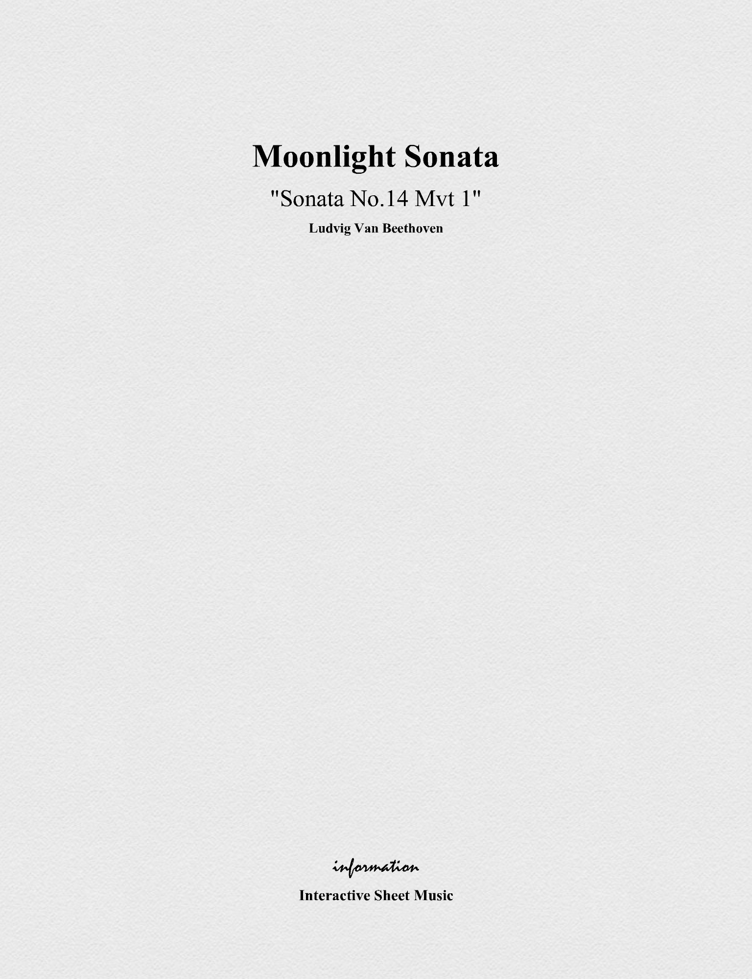 Moonlight Sonata (Songbook Cover)